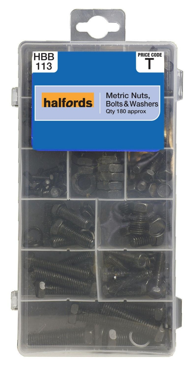 Halfords HBB113 Assorted Nuts Bolts Washers Pack 180 Pieces Black Metric Garage