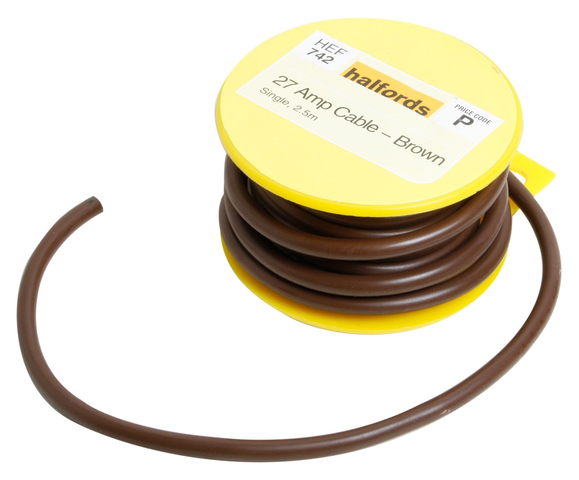 Halfords HEF742 Single Core Cable 27 Amp 12V Brown 2.5m Long 44 Copper  Strands