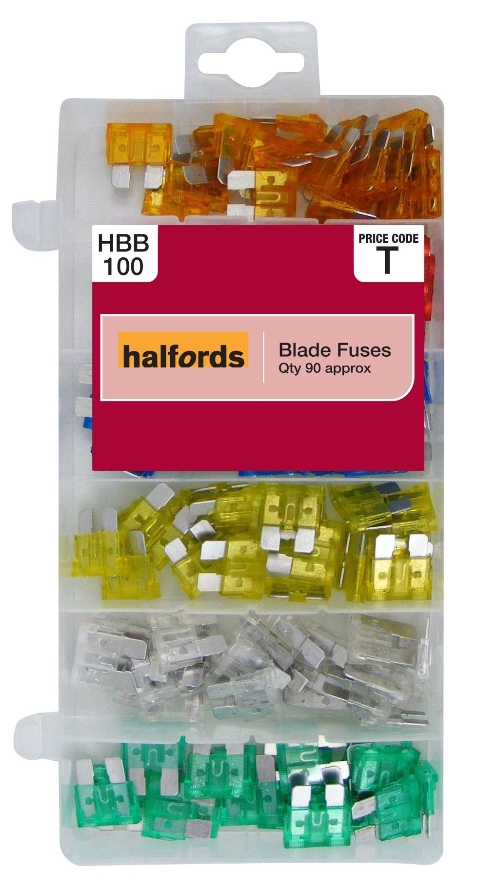 Halfords HBB100 Assorted Blade Fuses Pack 90 Pieces 5A 10A 15A 20A 25A 30A
