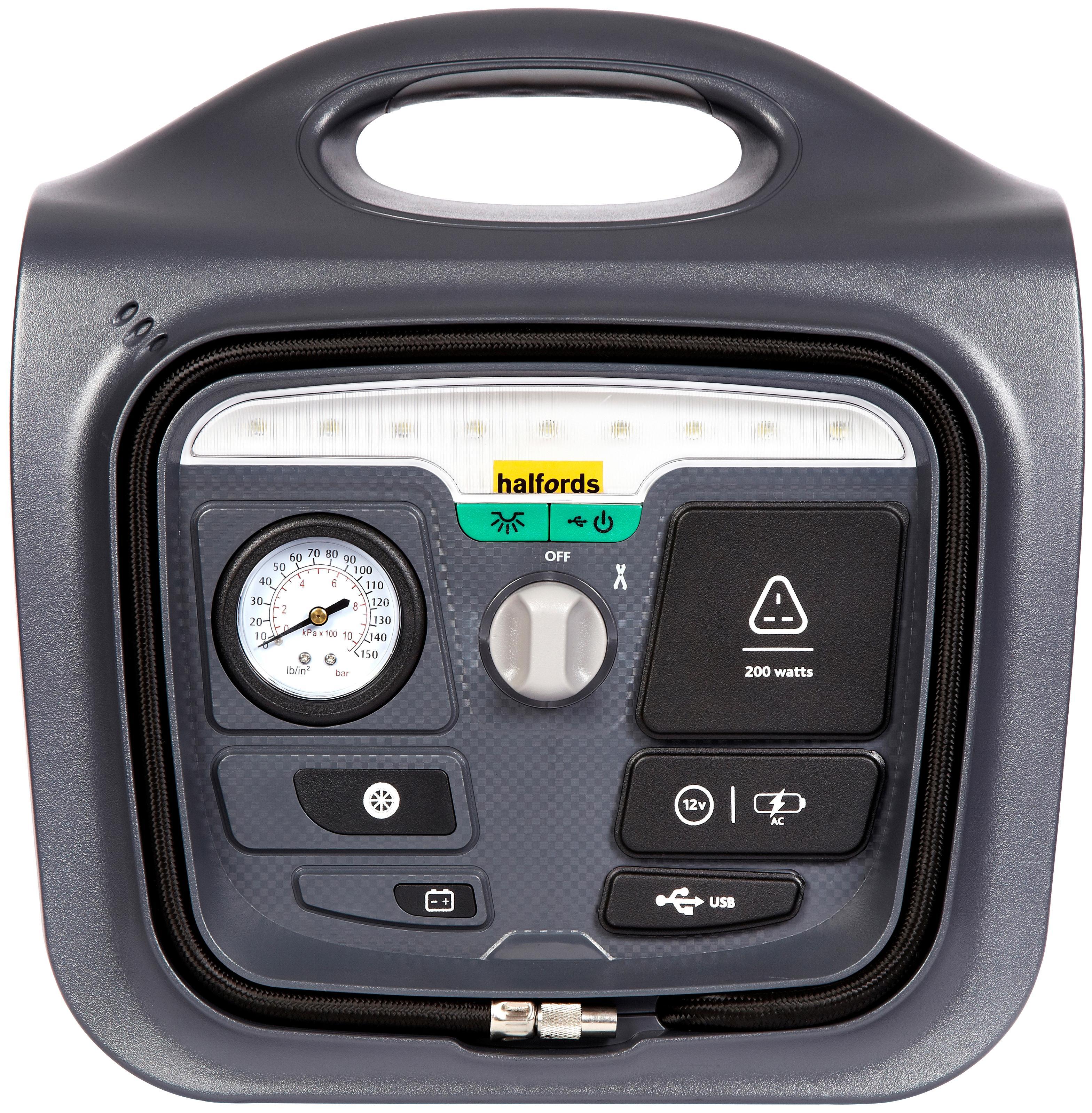 Halfords Power Pack 200 150PSI Compressor 200W Inverter 2.1A USB Charging  Socket
