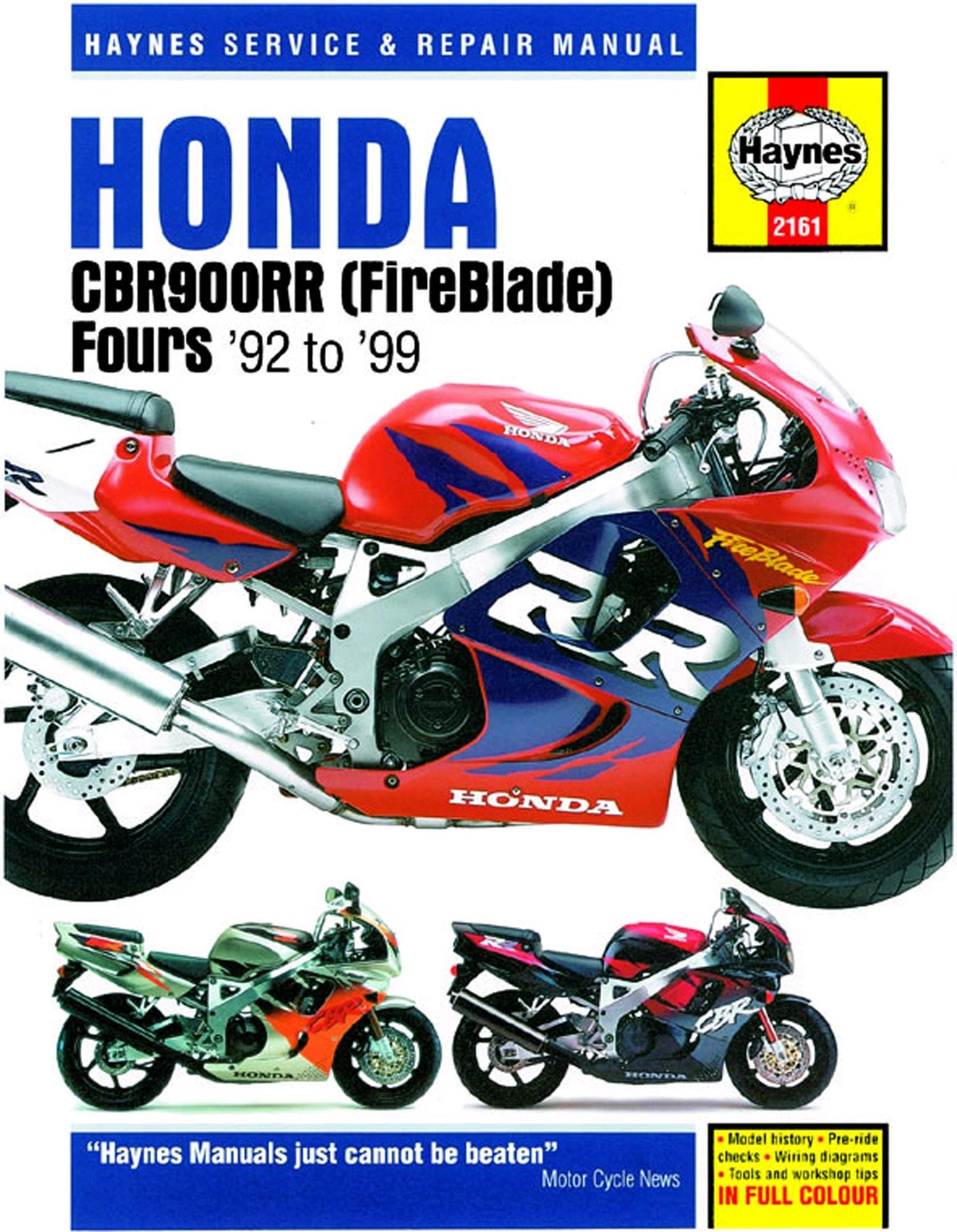 Haynes Service Repair Manual Honda CBR900RR FireBlade Fours 92 - 99  Maintenance