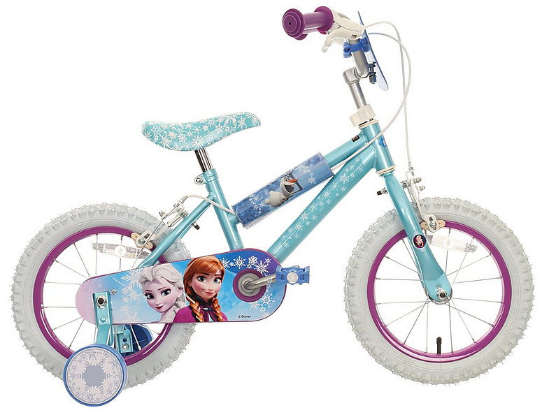Halfords Disney Frozen Kids Girls Bike Bicycle 14 Inch Wheels With Ilisers 5050843635711