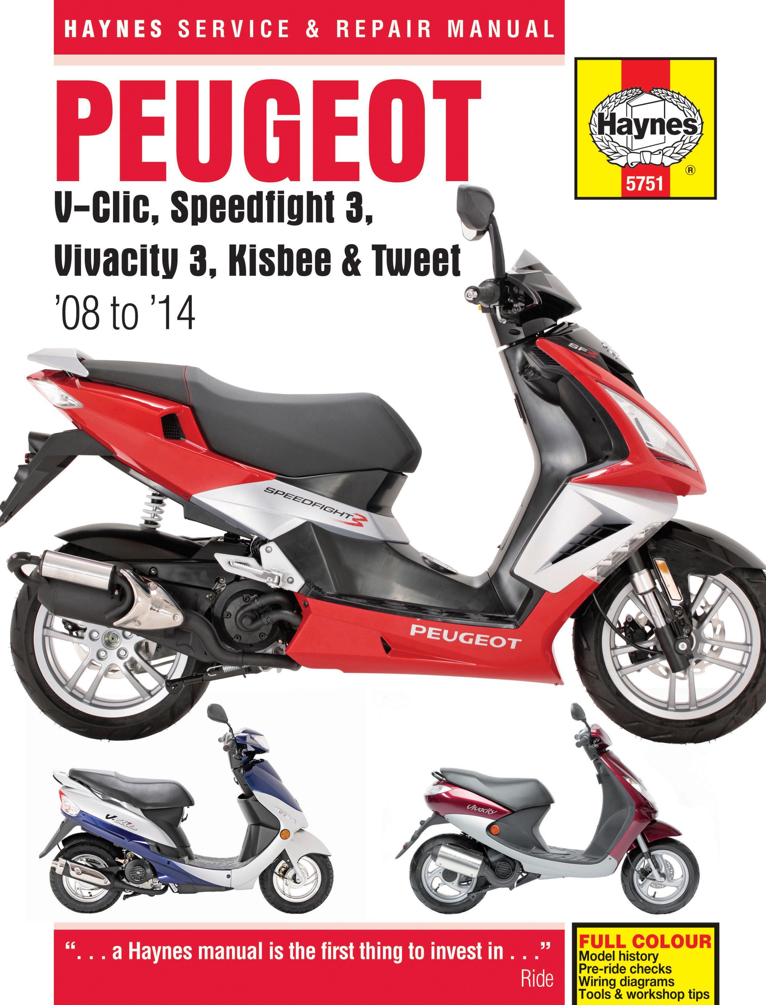 Haynes Peugeot V-Clic Speedfight 3 Vivacity 3 Workshop Service Repair Manual