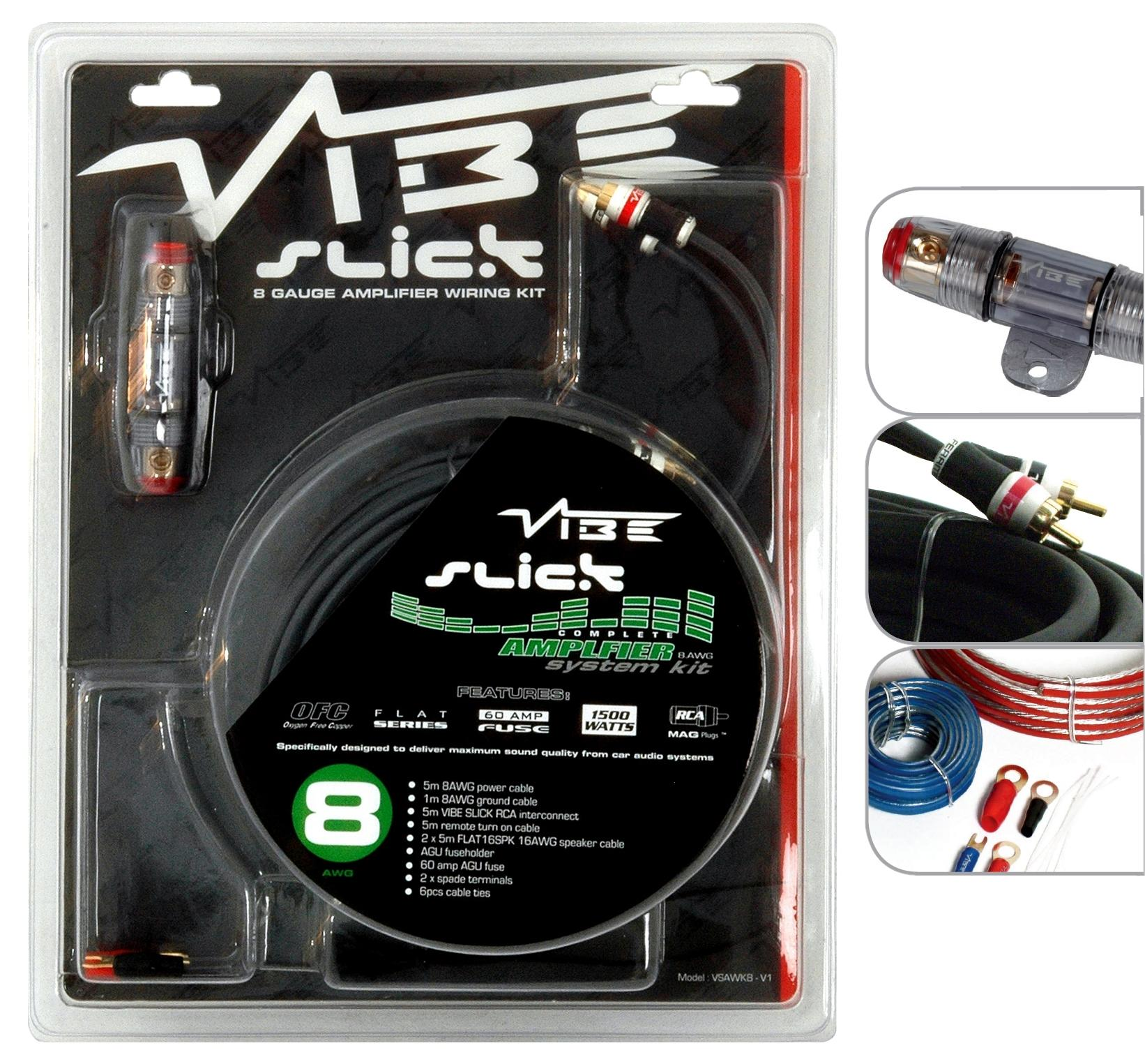 Vibe Slick 8 Gauge 1500W Amp Amplifier Wiring Kit / Sub Kit