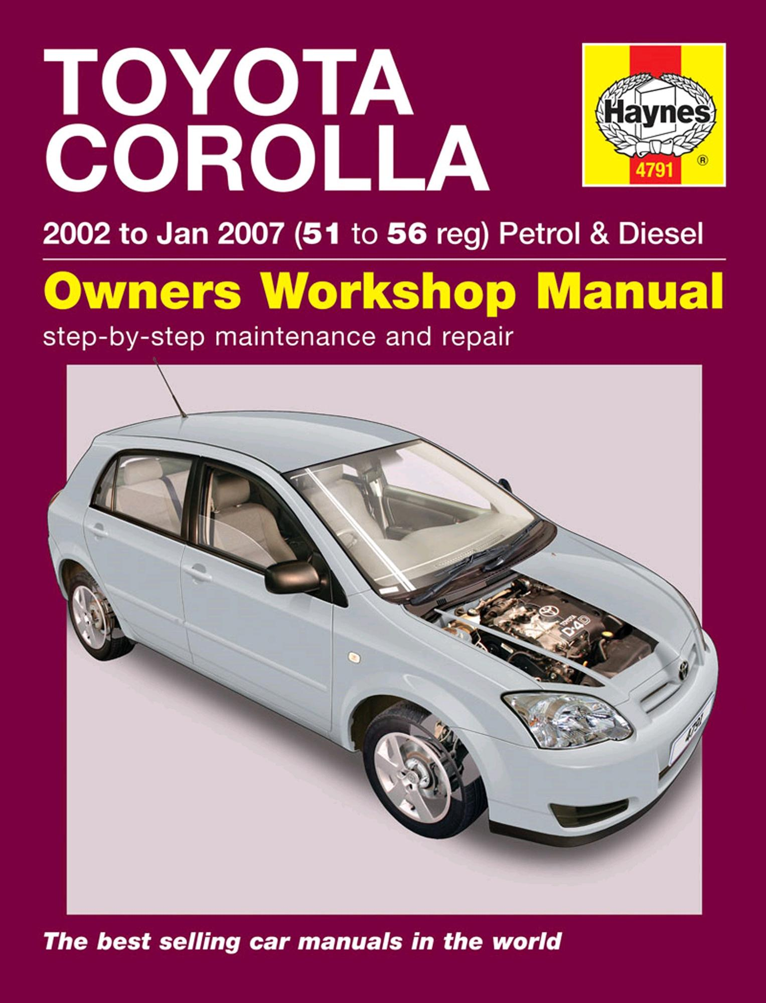 Toyota Corolla Repair Manual: Overhaul
