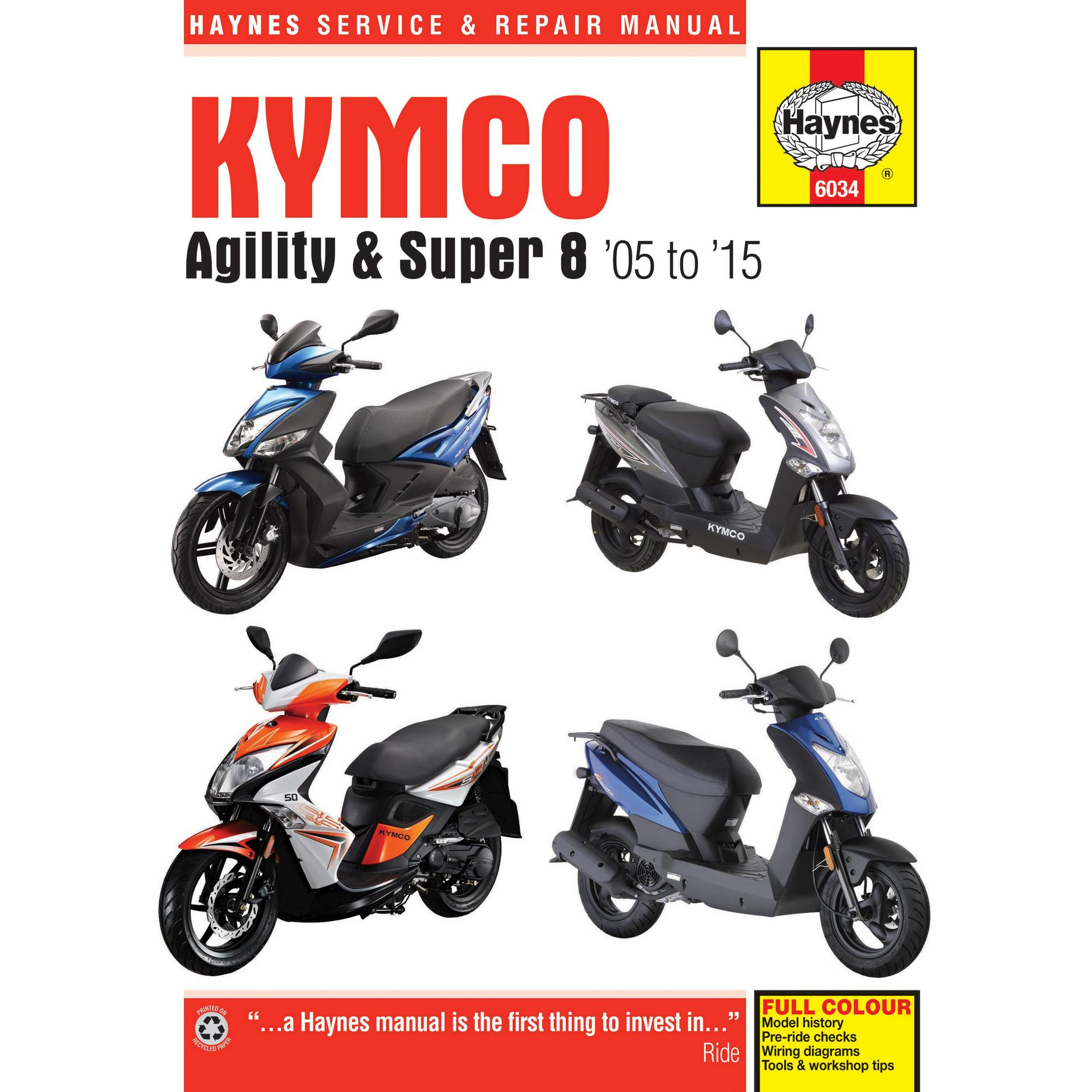 Haynes Owners Workshop Repair Manual Kymco Agility Super 8 Scooter 49cc Wiring Diagram Electric Scooters For Sale 2005 2015