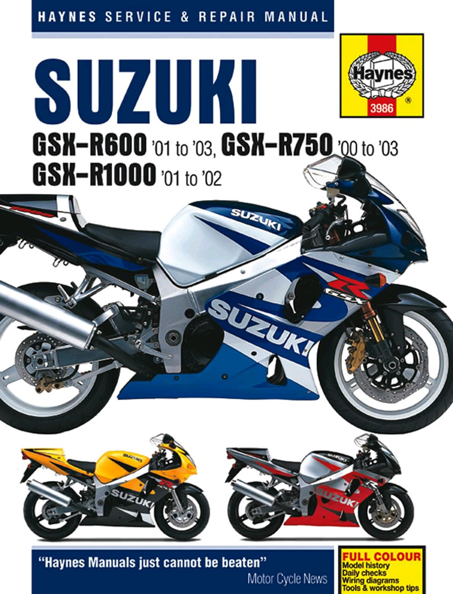 Haynes Service Repair Manual Suzuki GSX-R600 01-03 GSX-R750 00-03 R1000  01-02