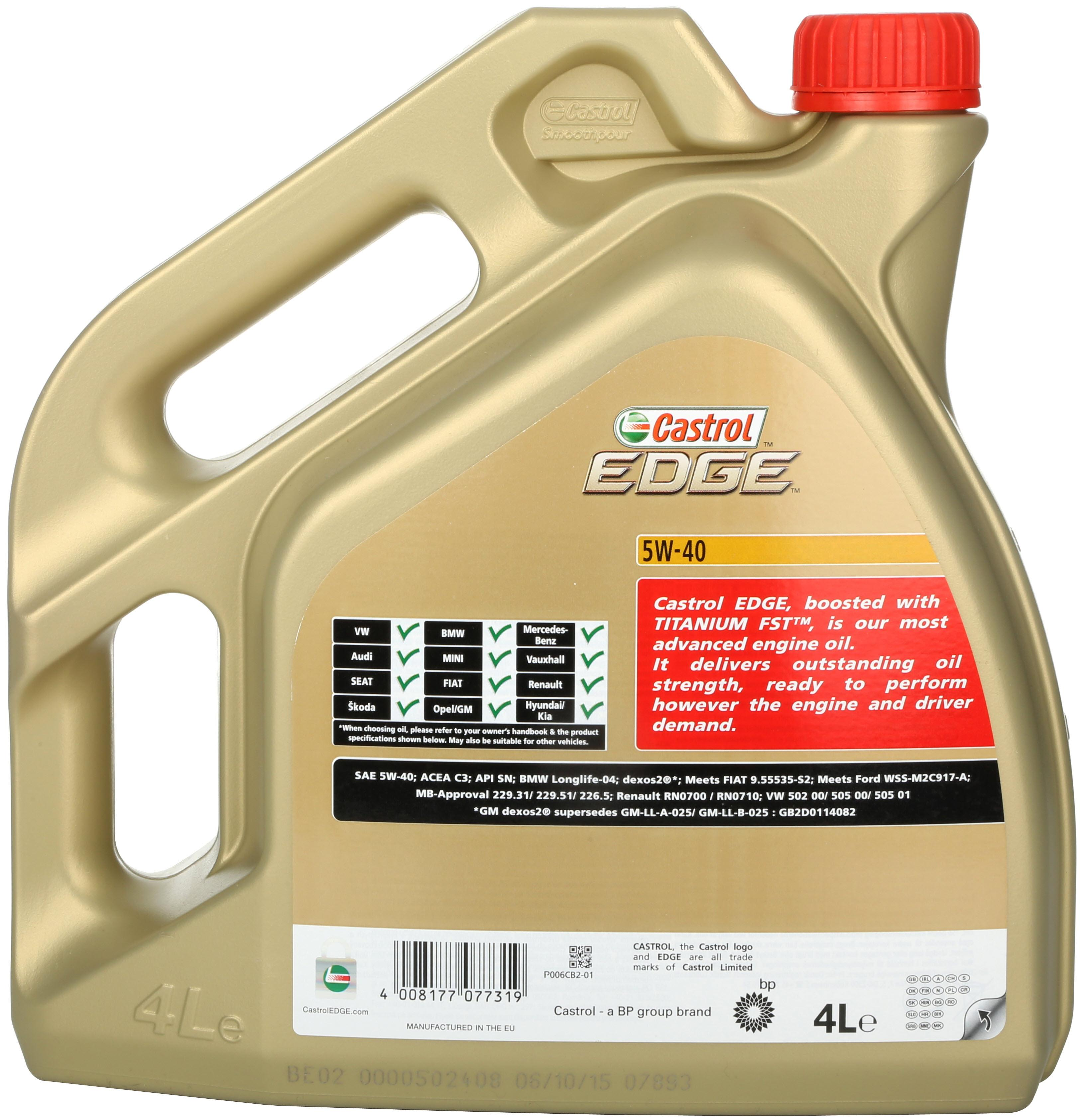 Kendte Castrol Edge Titanium 4L Engine Oil 4 Litre 5W40 Fully Synthetic SH-34