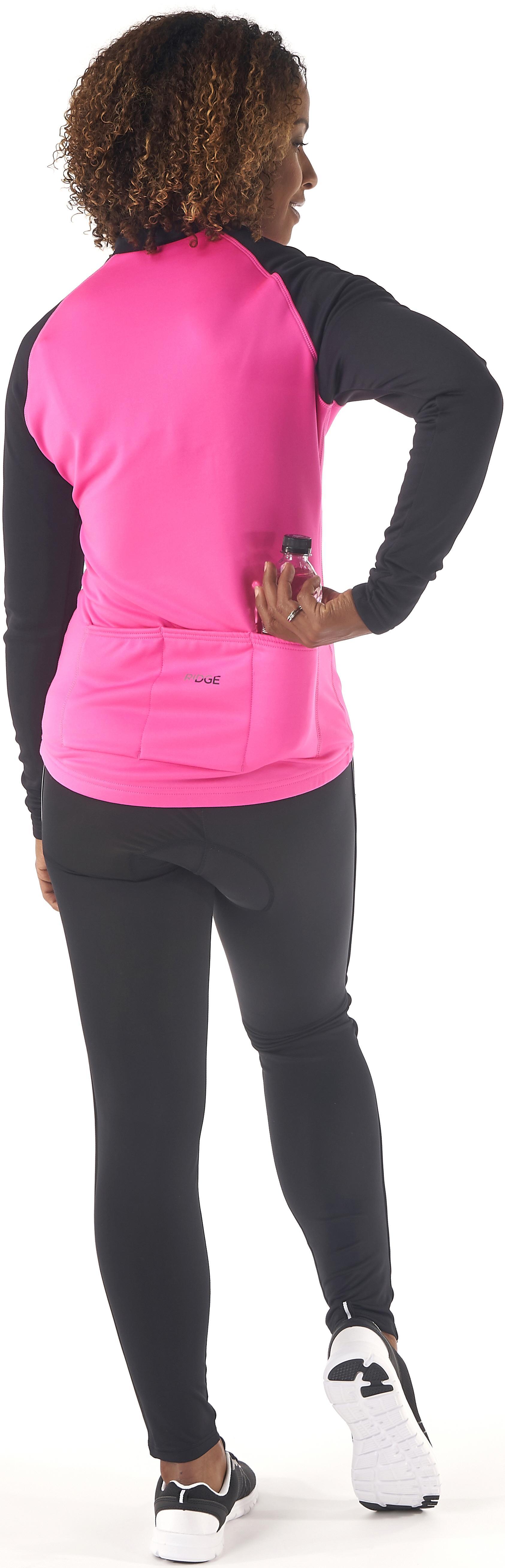 Ridge Womens Long Sleeve Half Zip Reflective Cycling Thermal Jersey ... f2a04ba37